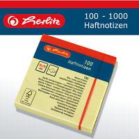 Herlitz Haftnotizen Haftnotizblock 75x75mm 100-1000 Blatt gelb Papier FSC blanko
