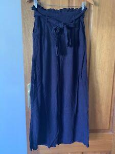 Sunny Girl Paperbag Cullottes Wide Leg Linen Size 8 Navy Pant high waist