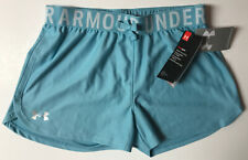 Under Armour Girls Play Up Solid Workout Gym Shorts-Blue Haze/Silver Youth Large