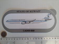 AUTOCOLLANT AIRBUS A340 500 STATE OF KUWAIT AIRLINES STICKER AUFKLEBER KOWEIT