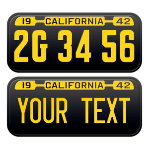 1 x Custom Personalized 1942 California License Plate with YOUR TEXT