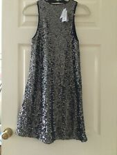 RIVER ISLAND BLACK & SILVER SEQUIN A LINE 60's DRESS SIZE 10 BNWT NEW