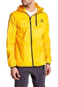 NWT $110 PUMA Evo Windbreaker Jacket Wind Hoodie Yellow SizeS Rain
