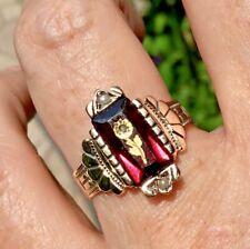 Antique Victorian 14k Garnet Pearl & Rose Cut Diamond Rose of Sharon flower ring