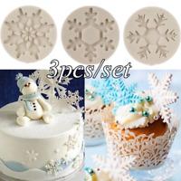 3pcs Snowflake Form DIY Silicone Baking Cake Mold Christmas Xmas Cupcake Mould