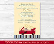 Fire Truck Engine 27 Dalmation Printable Baby Shower Invitation EDITABLE PDF