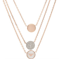 Emporio Armani Necklace Rose Gold Layered Pendants Gift Boxed