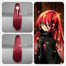 For Shakugan no Shana Red 100CM Long Hair Lady Cosplay Wig with Bangs + Wig Cap