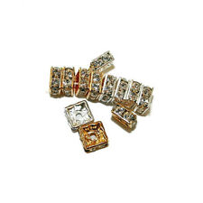 RHINESTONE CRYSTAL JEWELRY SPACER BEAD SQUARES 6MM 24 BEADS SILVER COLOR RC9