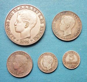 Spanish PUERTO RICO *** PESO, 40, 20, 10, 5 Centavos *** 1895-96 *** VERY NICE!