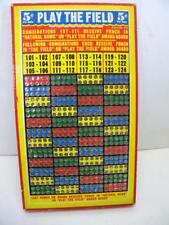 Vintage Punch Board Gambling Stimulator 5¢ Play the Field - Unused punchboard