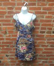 Vintage 90s Blue Tropical Floral Dress Tie Straps Open Back Womens (1629)