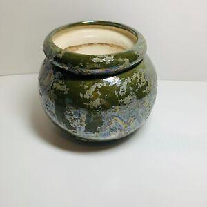 African violet self watering pot Green irredescent glaze Round 2 Piece