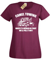 CAMEL TOWING T-Shirt funny Womens ladies Rude Joke Novelty top gift present