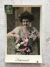 Beautiful Lady French Fashion Original Vintage Postcard c.1911
