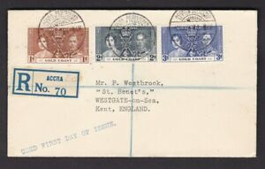 Gold Coast 1937 Coronation set neat registered FDC First Day Cover