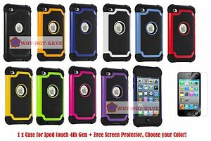 3 Piece Deluxe Premium Hard Case Cover for Ipod Touch 4 4G 4th gen A1367 New USA