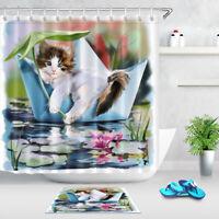 LB Waterproof Fabric Home Decor Shower Curtain Kitten In A Paper Boat & 12 Hooks
