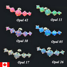 1PC Surgical Steel Tragus Piercing Helix Prong Opal Cartilage Ear Stud earring