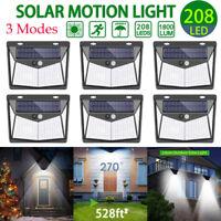 208 LED Solar Power PIR Motion Sensor Wall Light Outdoor Garden Lamp Waterproof