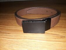Burberry Logo Buckle  Check Belt,Brown Leather Black Plaque Buckle Size 44