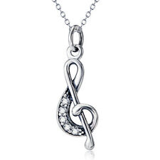 925 Sterling Silver Kpop Treble G Clef Musical Music Note Pendant Necklace Gift