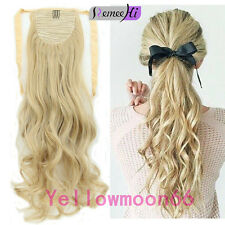 Binding Tie up Wavy Human Hair Ponytail One Piece Drawstring PonyTail Any Color