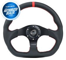 NEW NRG STEERING WHEEL FLAT BOTTOM RED STITCH W/ CENTER MARK RST-024MB-R-RD