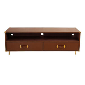 Genuine Leather Brown Two Drawer TV Cabinet
