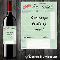 Personalised Perscription Wine Bottle Label, Funny, Spoof,Perfect Birthday Gift