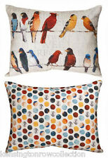 "THROW PILLOWS - FEATHERED FRIENDS"" REVERSIBLE PILLOW - 24"" X 18"" - BIRD PILLOW"