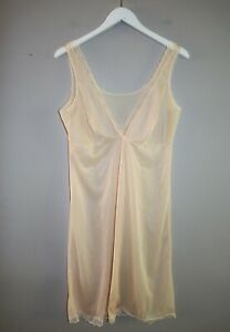 VINTAGE Original 1980's Soft Beige Lace Detail Sleeveless Slip Dress #VIN02