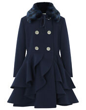 Girls Monsoon Navy Tallulah Fur Ruffle Frill Bow Winter Dress Coat  3 - 4 Years