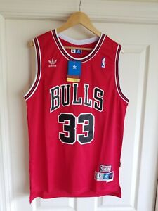 NWT Scottie Pippen Chicago Bulls RED Jersey Throwback Classic Retro LARGE