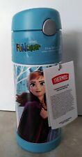Disney Frozen 2 Elsa Anna Olaf Thermos Vacuum Tech 12oz Water Bottle Straw Blue