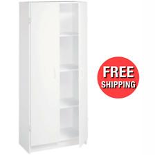 Pantry Kitchen Utility Cabinet Storage Wood Shelving Organizer 2 Door 4 Shelves