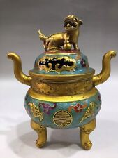 Chinese Antique Cloisonne gold plated brave troops Incense burner