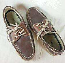 Jarman Mens Size 7.5 Boat Shoes Two Toned Brown Lace Up Casual Leather Shoes