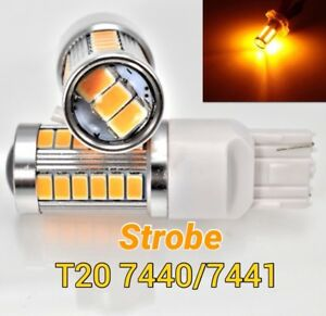 Strobe Flash T20 7440 w21w SMD Amber LED Bulb Rear Turn Signal Light M1 IN M