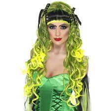 Halloween Rebel Perruque-Perruque Verte Noir Frange Halloween-Femme robe fantaisie