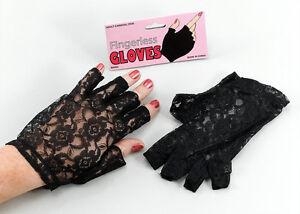 80's Black Lace Fingerless Gloves Madonna Ladies 1980's Fancy Dress Accessories
