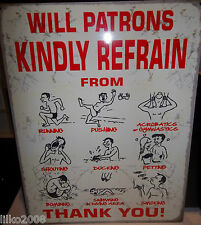 SWIMMING POOL WARNINGS (WILL PATRONS..) VINTAGE-STYLE METAL SIGN 40X30cm (LARGE)