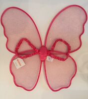 Gymboree Pink Silver Sparkle Glitter Fairy Butterfly WINGS for Costume Girls NEW