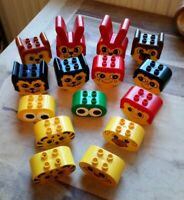 LEGO DUPLO PRIMO ANIMAL HEADS AND EYES & ANIMALS 15 PIECES NICE CONDITION