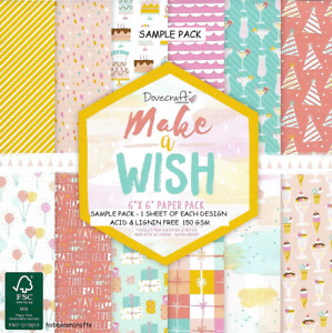 MAKE A WISH Dovecraft Party Themed  6x6 Sample Paper Pack  12 Sheets