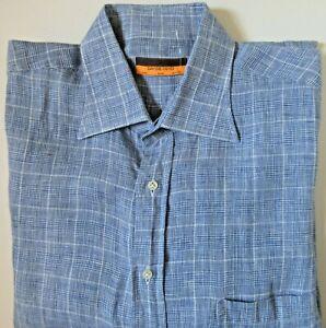 Davide Cenci Blue/White Patterned Long Sleeve 100% Linen Shirt 17