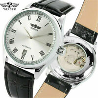 WINNER Date Skeleton Dial Men's Military Automatic Mechanical Watch Leather Band