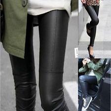 Sexy Damen Legging Leder Look Leggins Legins High Waist Hose Schwarz Treggins PU