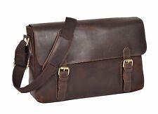 Ladies Real Leather Vintage Cross Body Shoulder Organiser Satchel a4 Bag Brown