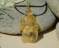 Yellow Citrine Quartz Crystal With Inner Fingerprint Gold Pendant and Necklace